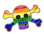 Pirate Style SKULL & CROSSBONES With LGBT Gay Pride Rainbow Flag Motif External Vinyl Car Sticker 128x84mm